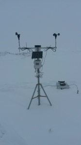 This weather station was in danger of being completely engulfed by a snow drift if left in place over the winter - after only a week of snow cover, the snowpack was already deep in this location.
